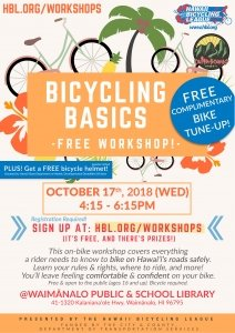 Bicycling Basics Workshop + Free Bike Tune-Up & Helmet! @ Waimānalo Public School & Library | Waimanalo | Hawaii | United States