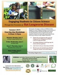 Workshop (Molokai): Engaging Students in Citizen Science Through the Prevention of Rat Lungworm Disease @ UH Maui College: CTAHR Applied Research Farm (Molokai Farm) | Kaunakakai | Hawaii | United States