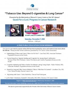 Tobacco Use: Beyond E-cigarettes & Lung Cancer @ Online Via Zoom | | |
